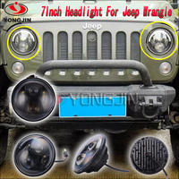 "Wholesale Promotion 7"" projector head lights angel eye 7inch led lighting for jeep wrangler accessories front light"