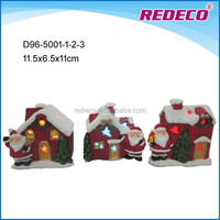 Ceramic flickering christmas LED santa house ornament