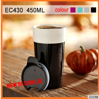 450ml Custom wholesale stainless steel outside china starbucks ceramic travel coffee mugs without handle