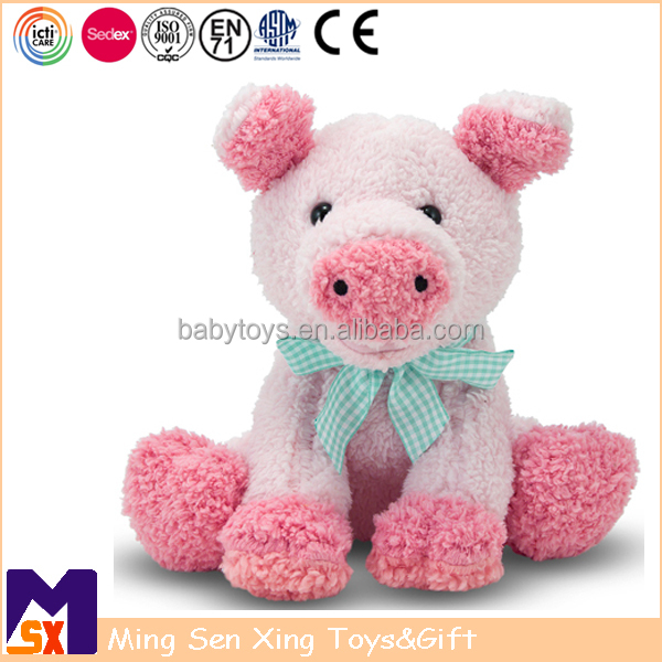 Icti stuffed animal manufactuer customized pink piggy farm toy