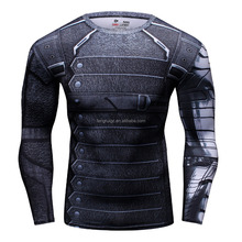 Small Order 3D Printed Custom Printed Black T Shirt Marvel Winter Soldier Compression Fitness Gym Clothing Running Tights Tee