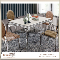 Luxury stainless steel frame table and chair for restaurant