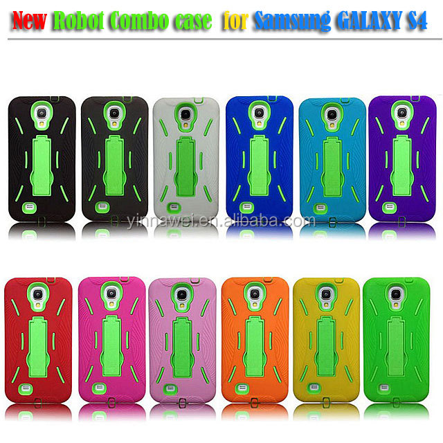 Robot Case with Bracket covers for Samsung Galaxy S4 silicone mobile phone case