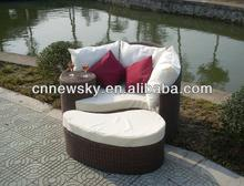 Patio rattan double sun lounger beds