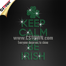 Custom crystal keep calm and be Irish hot fix rhinestone transfers