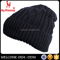 Black knitted winter cc beanie hat