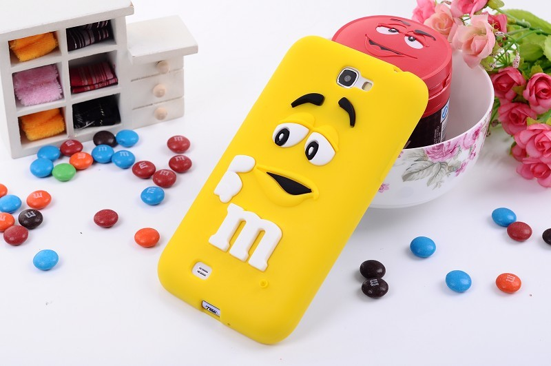 Soft silicone 3D cartoon cute M&M jelly Beans Chocolate Case For Samsung Galaxy Note2 N7100,100pcs/lot
