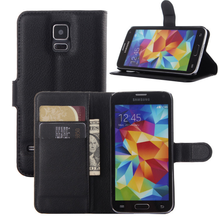 Magnetic Closure PU Leather Flip Book Case For Samsung Galaxy S5 i9600 Wallet Cover With Card Holder