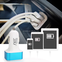 Universal 3 Port Micro USB Auto Car Charger 5.1A 12V/2.1A+2A+1A Portable Mini LED Adapter for iPhone 5S/6 plus 4S for galaxy5 s6