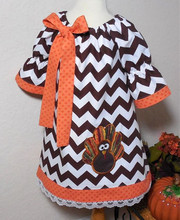 High quality baby girls chevron thanksgiving dresses wholesale toddler girl boutique turkey applique fall clothes