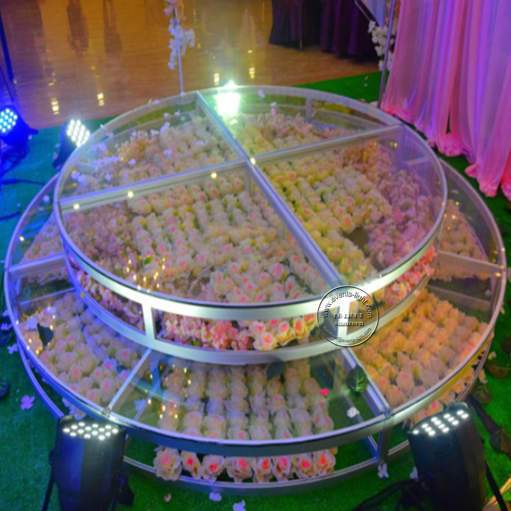 Adjustable Round Glass Stage LED Dance <strong>Floor</strong> For Wedding Banquet Hall T Show