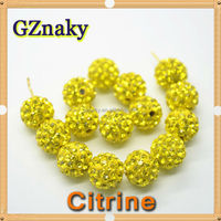 Citrine 10mm Shamballa glass ball Beads Pave Clay Disco Ball Beads large craft custom beads For Jewelry bracelet