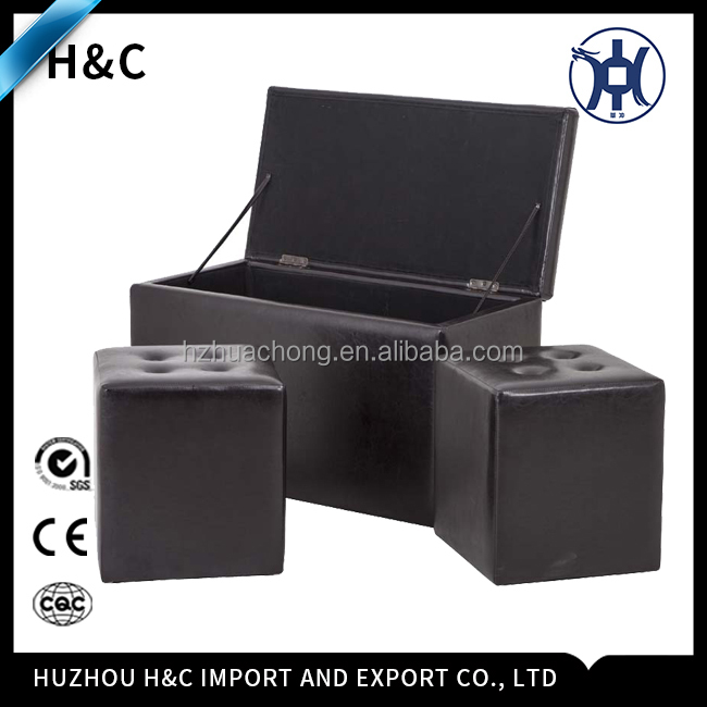 HC-O002 Foldable PU Ottoman with Storage Folding Ottoman Furniture