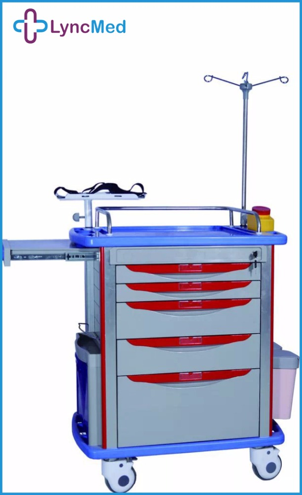 Hospital Crash Cart Abs Medical Emergency Trolley medical crash trolley with drawers