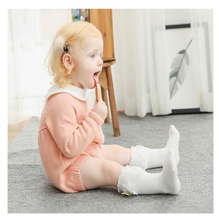 Knee High Plain White Baby Socks With Ruffle Designs Buy Knee