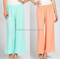 women casual GIMP TRIM WAIST BAND SOLID PALAZZO PANTS