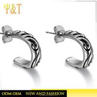 Jingli Jewelry China Supplier Engraved Cloud Sahped Stainless Steel Earrings(YJJL-02)