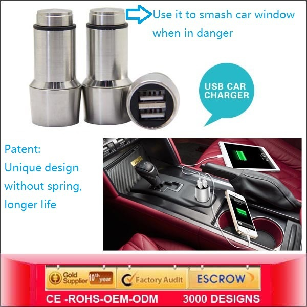 2014 Unique Usb Car Charger,Dual Port Usb Car Charger For Mobile Phone