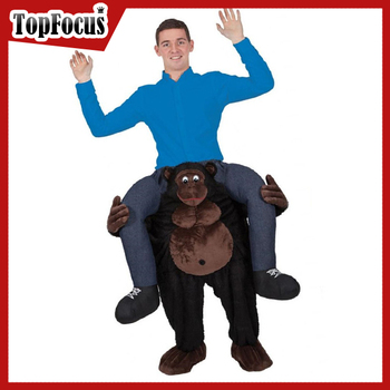 Custom High Quality Gorilla Animal Adult Mascot Carry me Costume