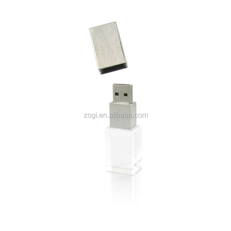 8GB 16GB crystal transparent retangle genuine USB flash drive 2.0 or 3.0v wedding gift pendrive with LED light