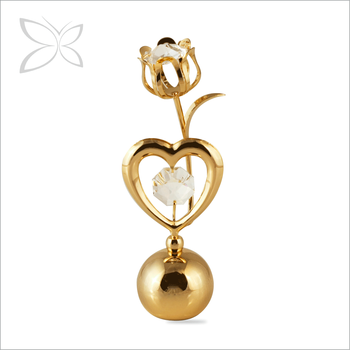 Specialized Lovely Gold Plated Metal Crystal Rose Heart Paper Weight Wedding Gift
