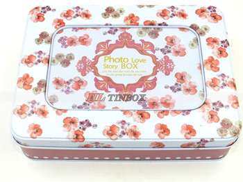 Printed Rectangular Metal Photo Collection Tin Box Gift Tin Can