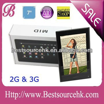 Professional 7 tablet pc 3g support calling 2G GSM with CE provide OEM dual camera