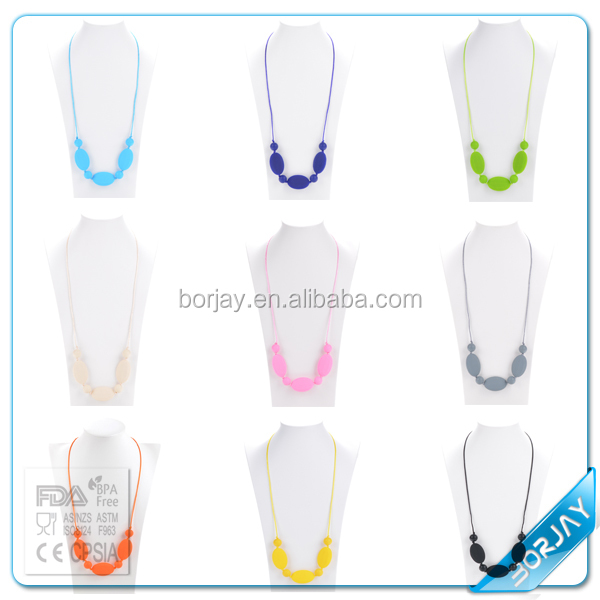 BPA Free silicone baby chew bead necklace designs