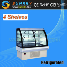 Popular stainless steel bakery cake display cooler and cake display showcase with shelves