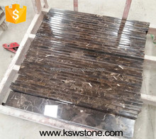Dark emperador brown marble flooring border design marble tile