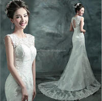 Elegant A Line white Trumpet Mermaid Wedding Dress