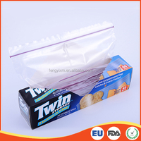 New design two section FDA/EU approved LDPE sealable transparent plastic ziplock bag