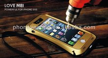 tempered glass waistline shape metal waterproof case for iphone 5
