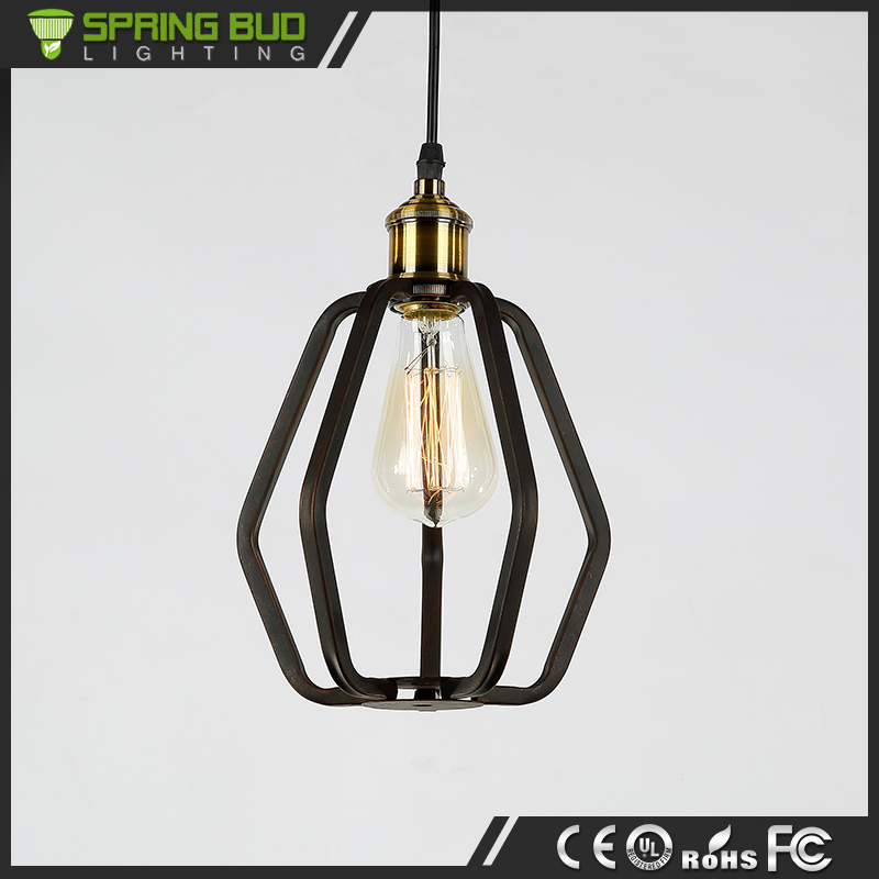 Decorative Pendant Lighting Vintage Industrial Style irregular iron Wire Cage Pendant Light With Edison Light Bulb