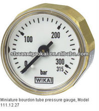 Miniature bourdon tube pressure gauge Back mount, standard version Model 111.12.27
