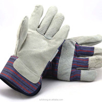 cheapest price cotton back cow split leather working glove made in China