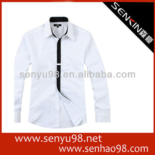 High quality Elegant White Grey 100%Cotton shirt for men S,M,L,XL,XXL