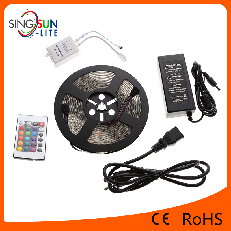 Wholesale dimmable 5050 led strip 5m DC12V 24V RGB 150 waterproof LED string Light warranty 2 years CE RoHS