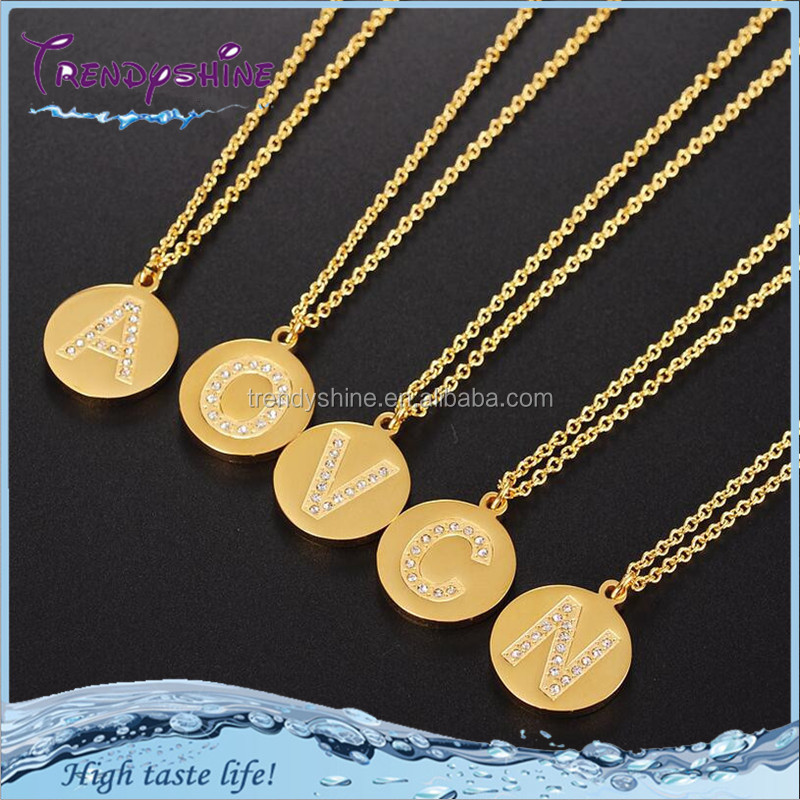 Fashion gold plated stainless steel custom pave crystal slide letter necklace