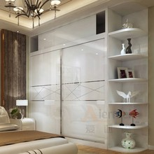 custom made closet high gloss lacquer glass bedroom wardrobe sliding mirror doors clothes wardrobe