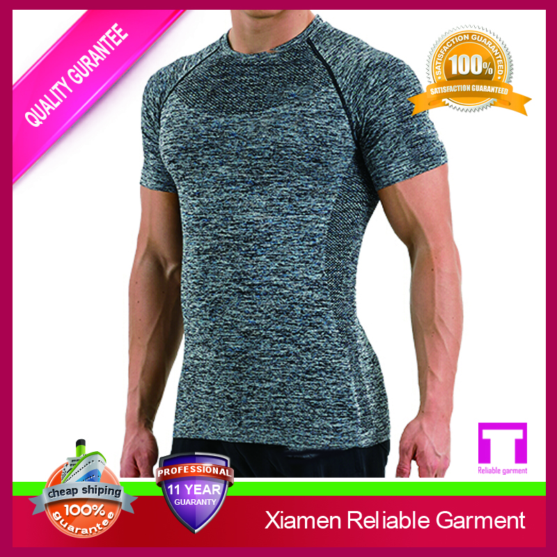 2016 Wholesale high quality China OEM mens gym seamless t shirt,fitness compression plain sports t shirt for man