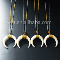 WT-N401 Wholesale cattle bone carved half moon necklace, Fashion wire wrapped bone half moon necklace