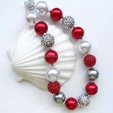 Red&white Plastic imitation pearl chunky necklace shamballa and rhinestone resin bead necklace!!