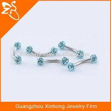 EB01002 stainless steel multi gem fake eyebrow piercing