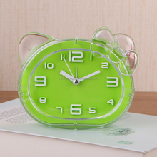 Lovely cat shape color crystal bump alarm clock