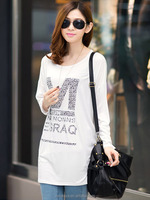 2014 Women long sleeve print t shirt clothing no brand name women long sleeve shirt length body