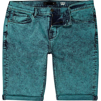 Mens Green Acid Wash Denim Shorts