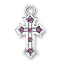 silver cross pendant with pruple crystals jewelry
