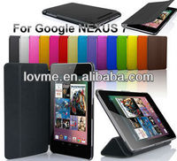 stand 3 folding leather case for google nexus 7 leather case with sleep function