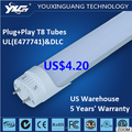 UL DLC listed Best price good quality tube light 4 feet tube led 18w,led t8 tube >105lm/w G13 base